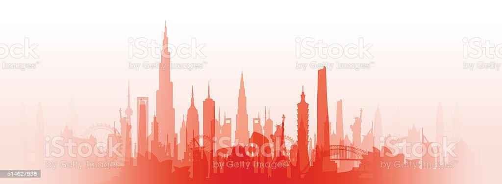 famous landmarks cityscape vector art illustration