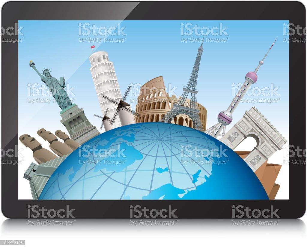 Famous landmarks in tablet pc vector art illustration