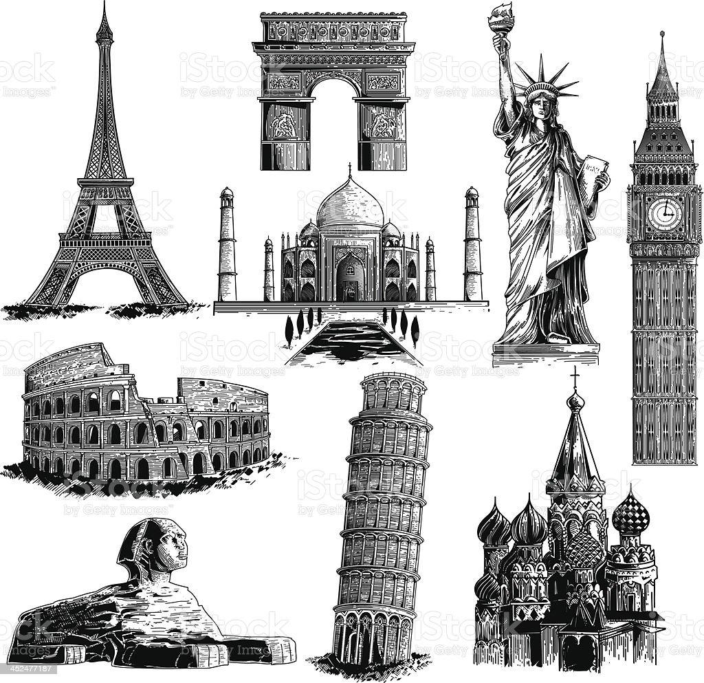 Famous landmarks vector art illustration