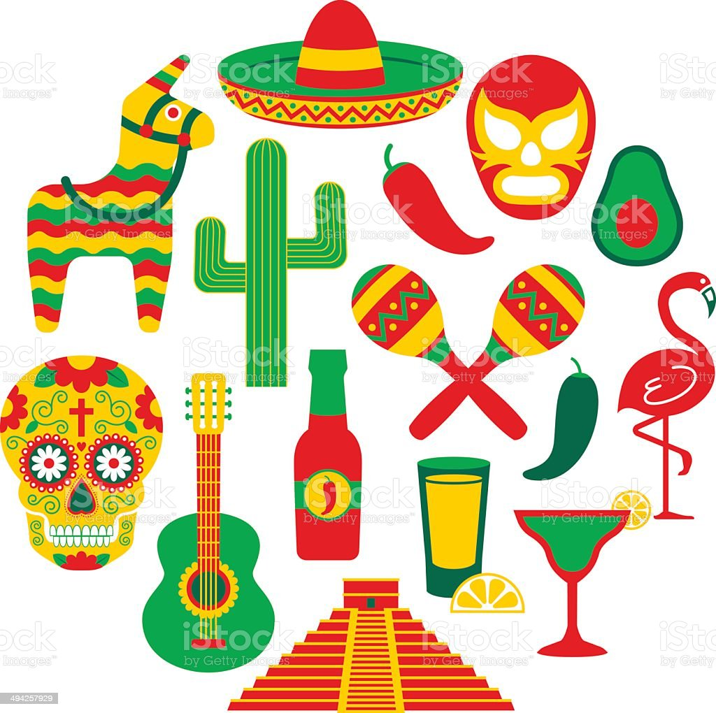 Famous Mexican icons vector art illustration