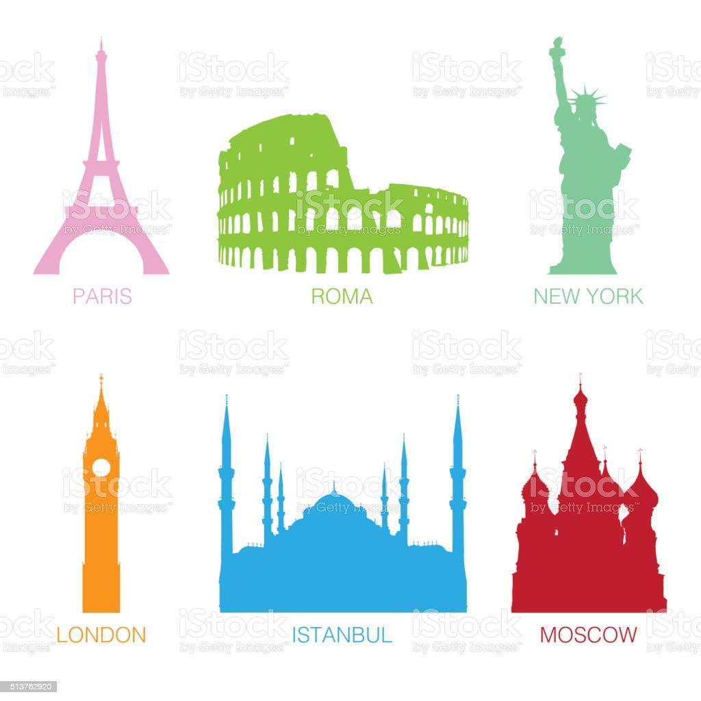 Famous Monuments vector art illustration