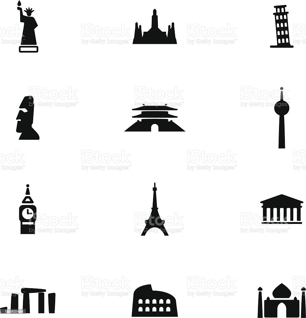 Famous Place Icon Set royalty-free stock vector art