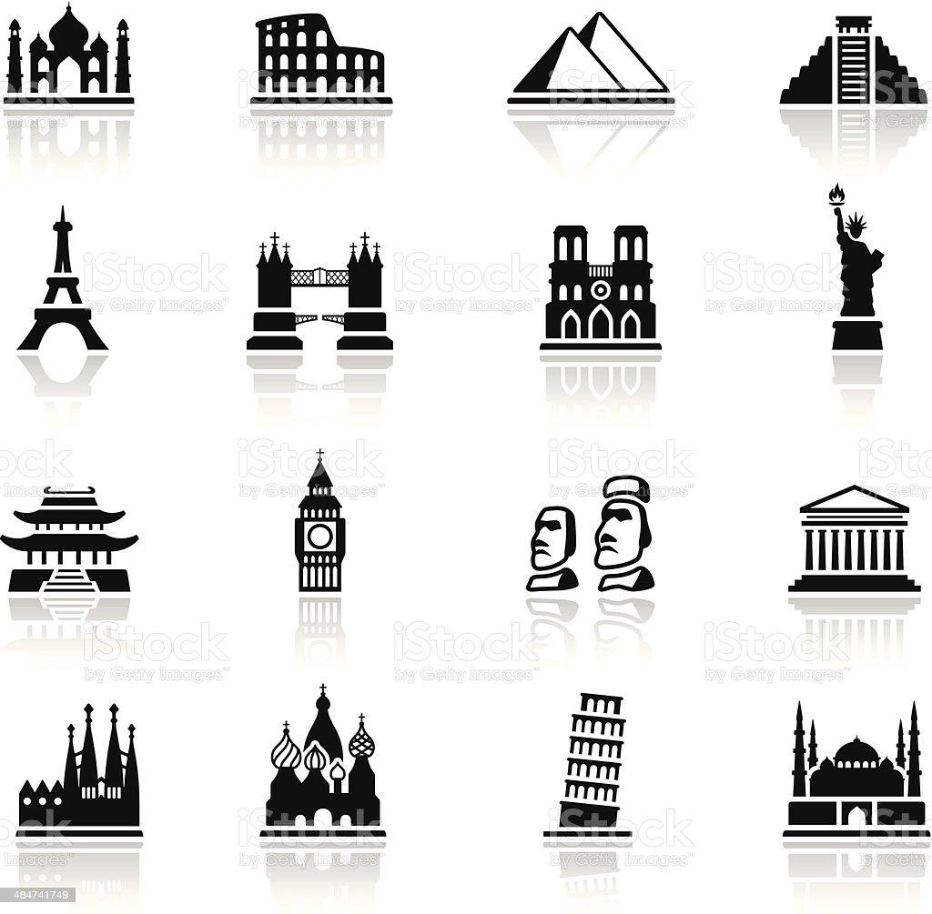 Famous Place Icon Set vector art illustration