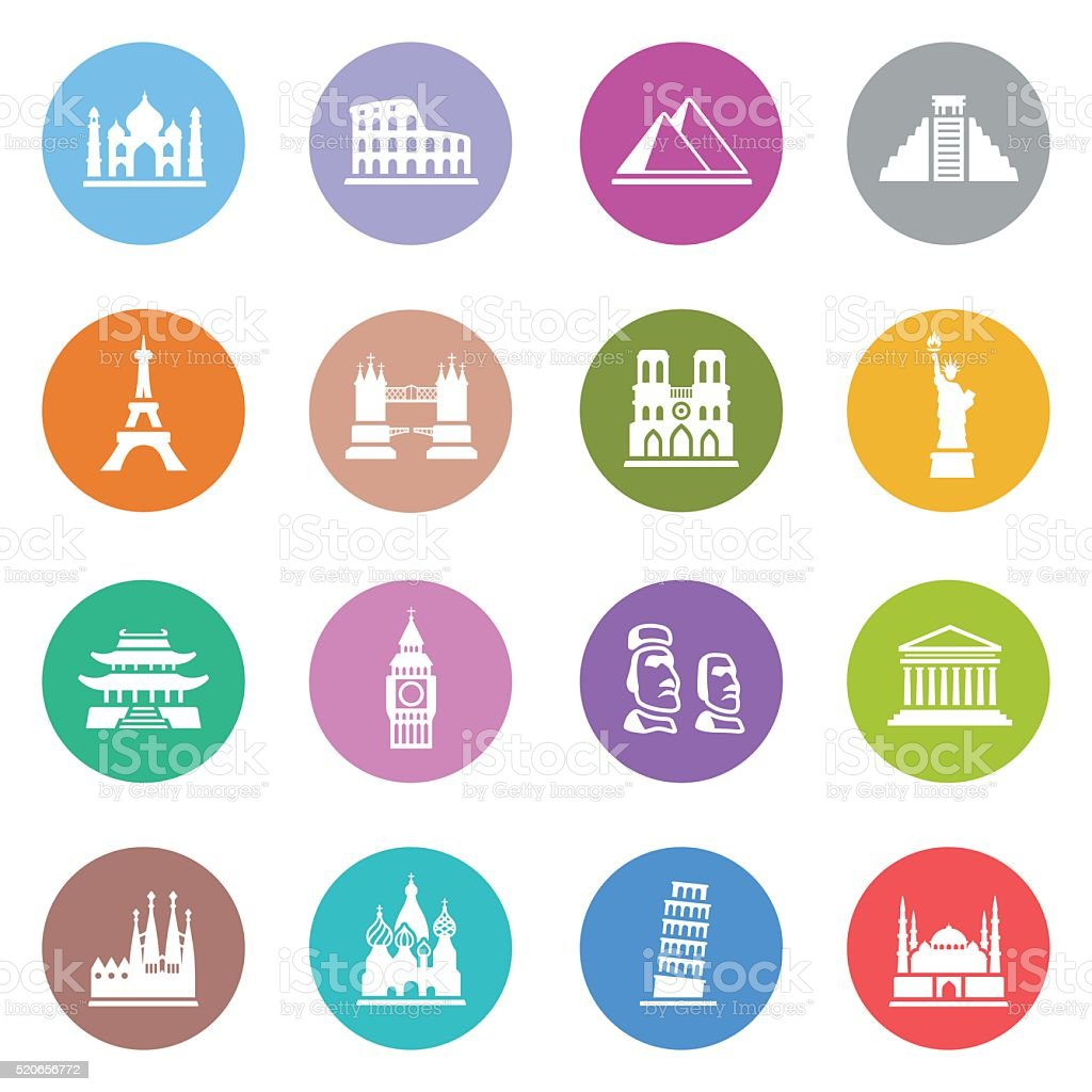 Famous Place Icon Set vector art illustration