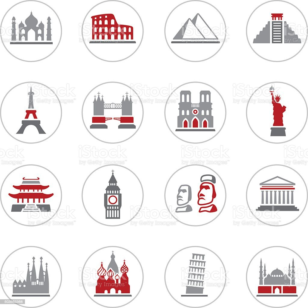 Famous Place Icons vector art illustration