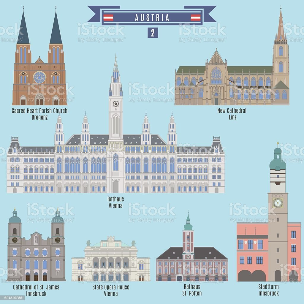 Famous Places in Austria vector art illustration