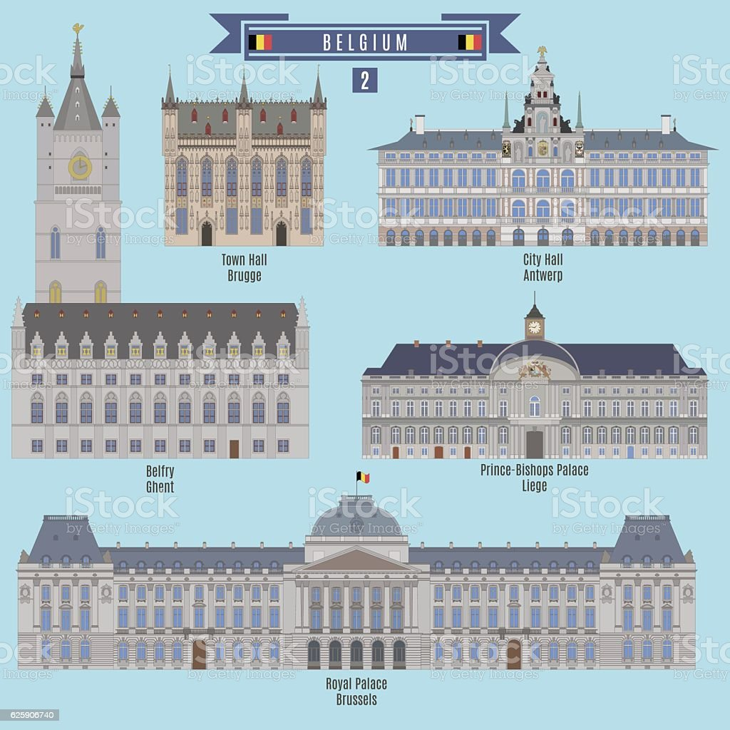 Famous Places in Belgium vector art illustration