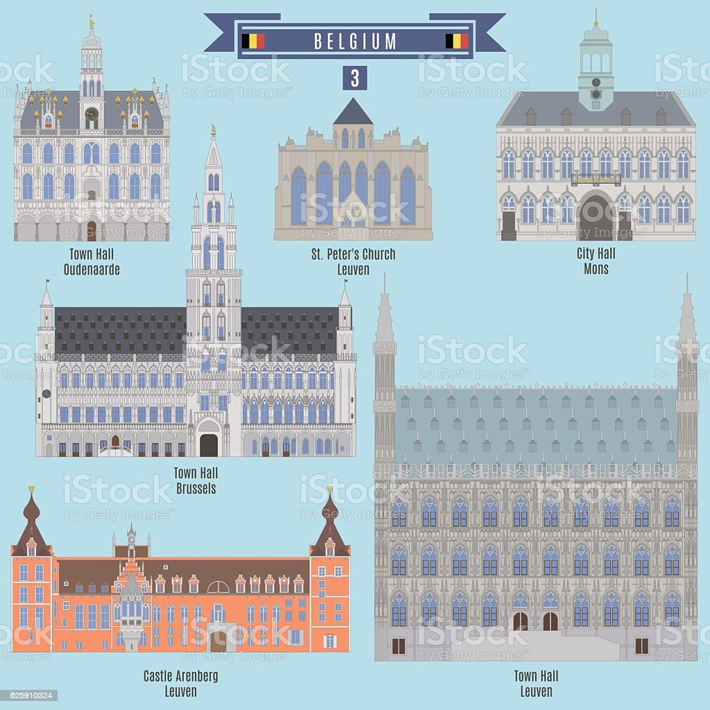 Famous Places in Belgium vector art illustration