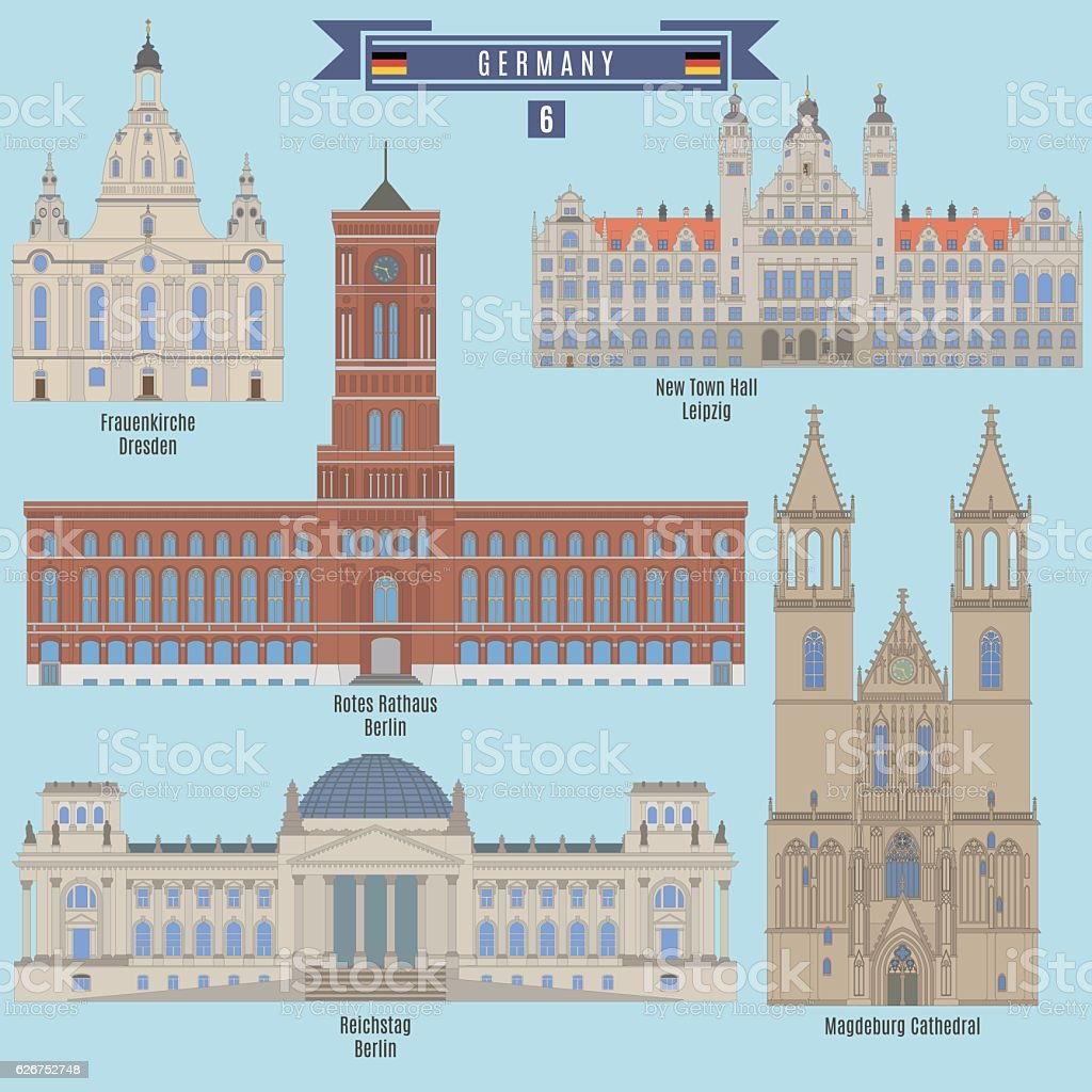 Famous Places in Germany vector art illustration