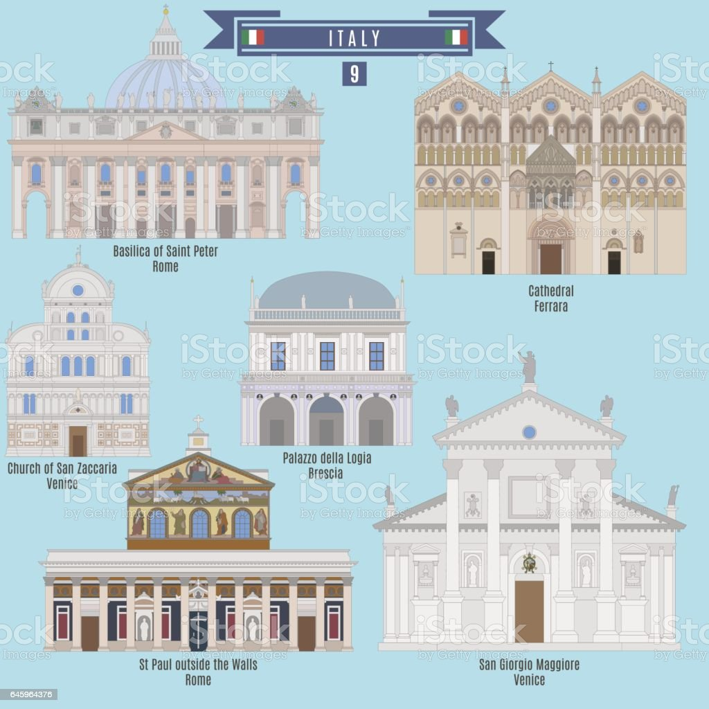 Famous Places in Italy vector art illustration