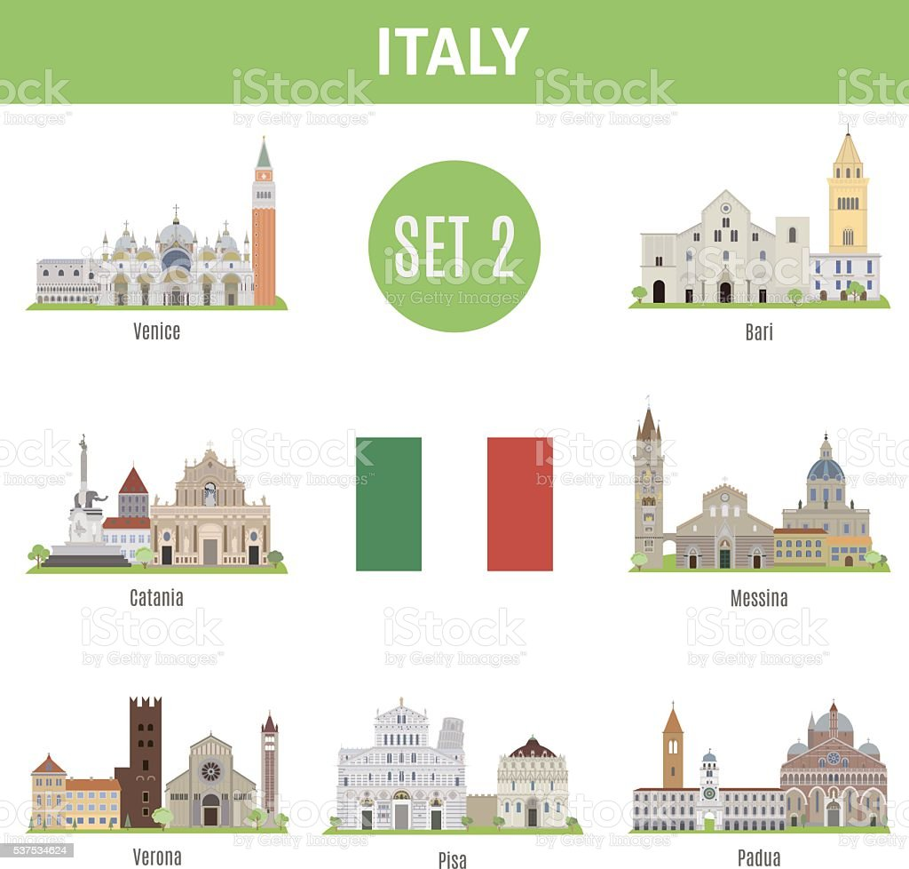 Famous Places Italy cities. Set 2 vector art illustration