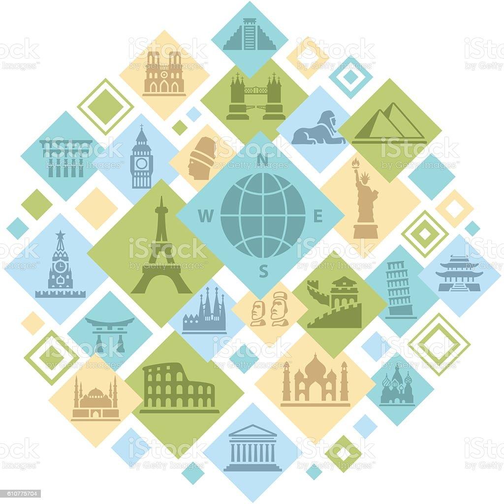 Famous Places Montage vector art illustration