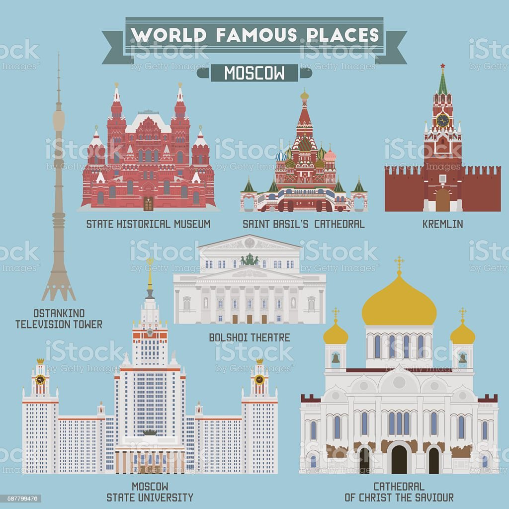 Famous Places of Moscow, Russia vector art illustration