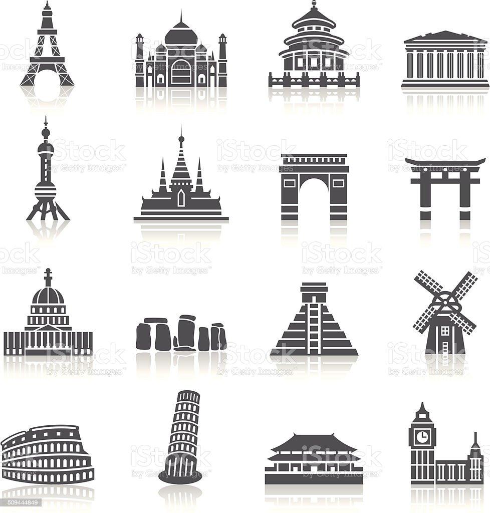 Famous Scenic Spots Icons vector art illustration