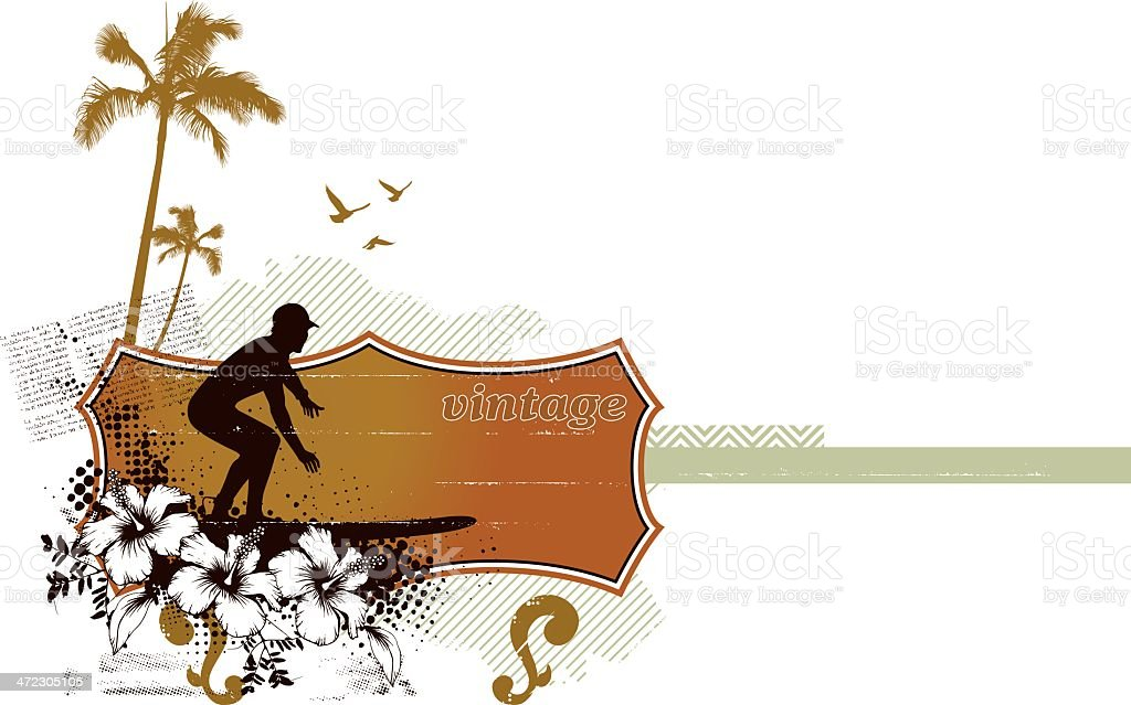 famous surf rider with summer background vector art illustration
