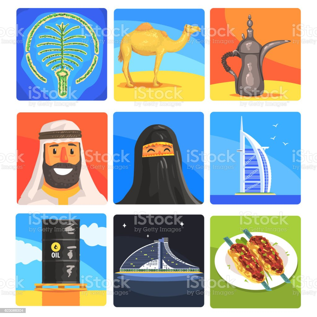 Famous Touristic Attractions To See In United Arab Emirates. Traditional vector art illustration