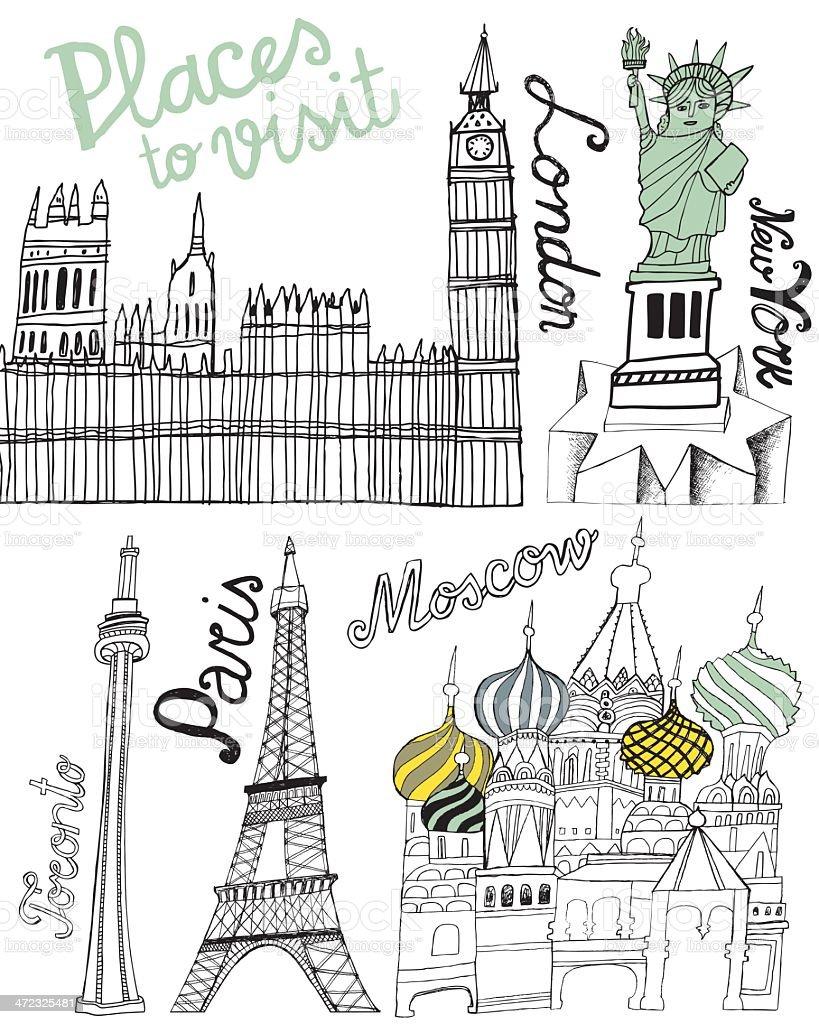 Famous world landmarks: Big Ben, Eiffel Tower, Statue of Liberty royalty-free stock vector art