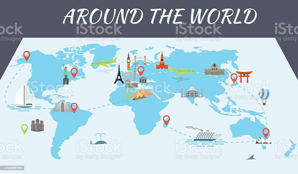 Famous world landmarks icons on the map vector art illustration
