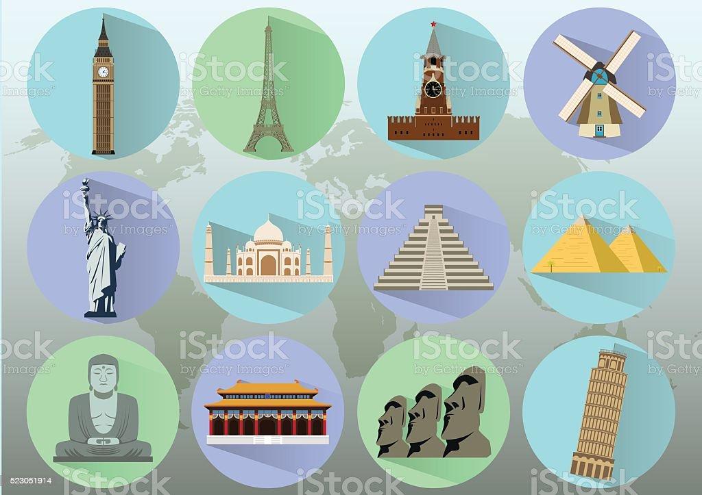Famous World Landmarks. Travel and Tourism. Vector Illustration vector art illustration