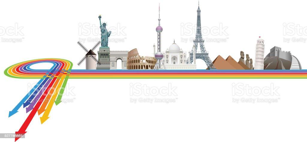 Famouse landmarks vector art illustration