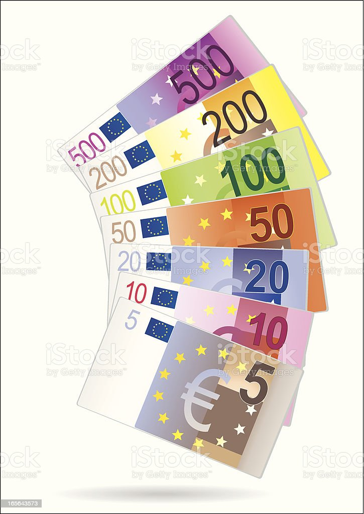 Fan display of Euro currency denominations royalty-free stock vector art