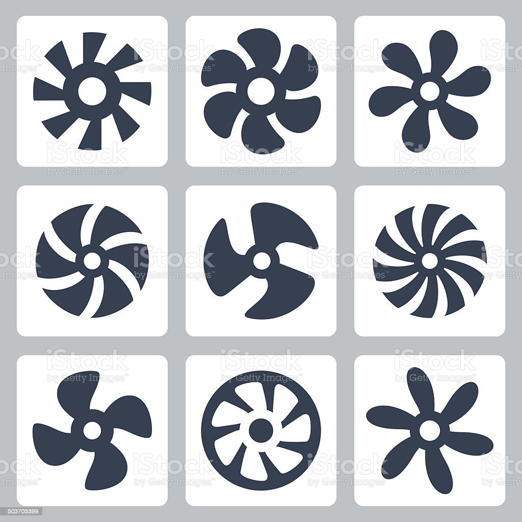 Fan propellers vector icons set vector art illustration