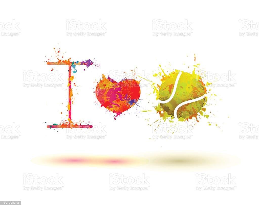 fan slogan: i love tennis vector art illustration