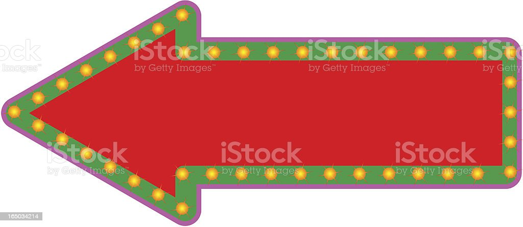 Fancy arrow sign with twinkling lights royalty-free stock vector art