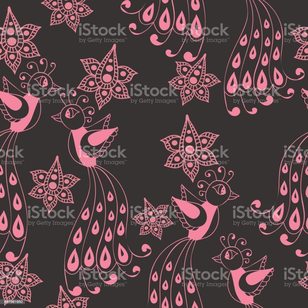 Fancy bird seamless pattern vector art illustration