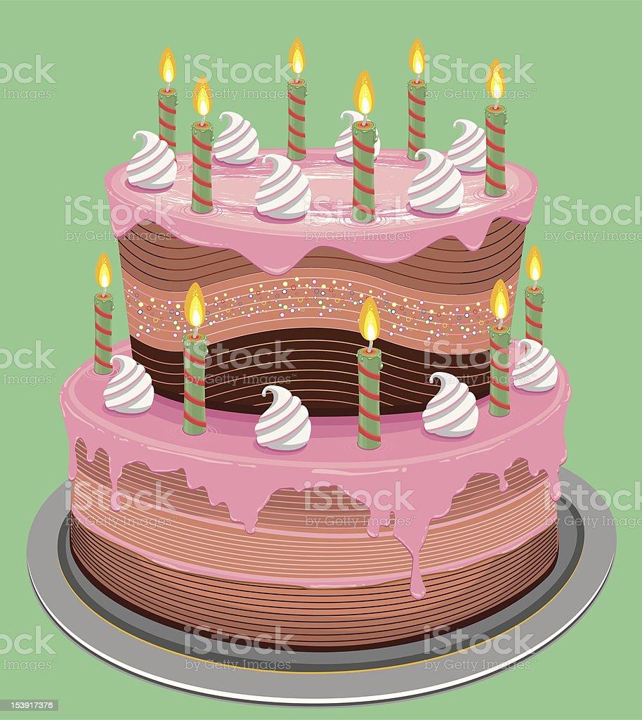 Fancy Birthday Cake vector art illustration