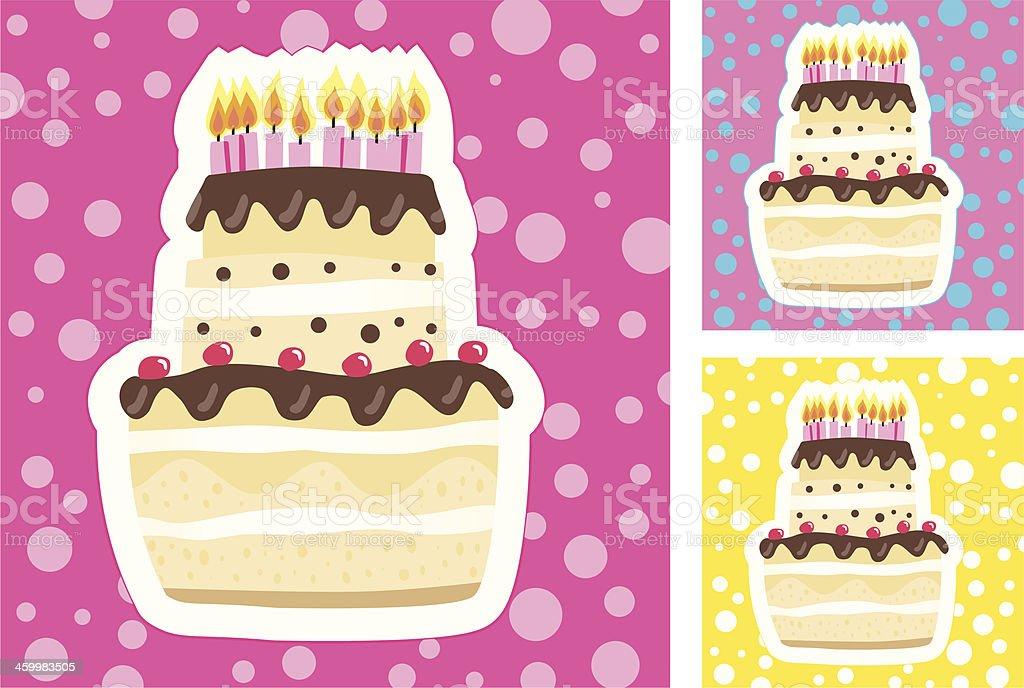 Fancy Birthday Cake (3Colorvarios). vector art illustration