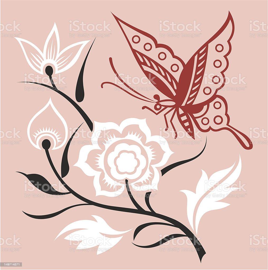 Bella farfalla ed eleganti di Crisantemo illustrazione royalty-free