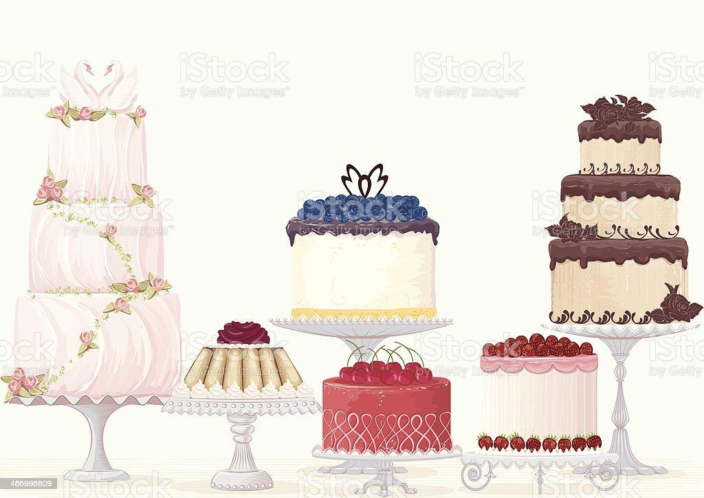 Fancy cakes vector art illustration