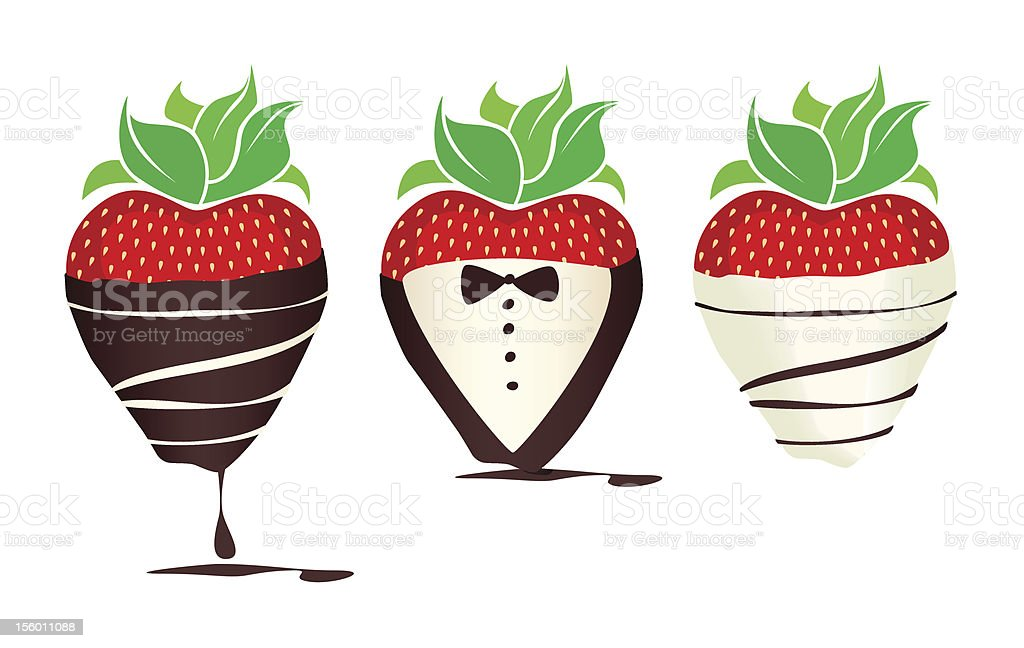 Fancy Chocolate-dipped Strawberries royalty-free stock vector art