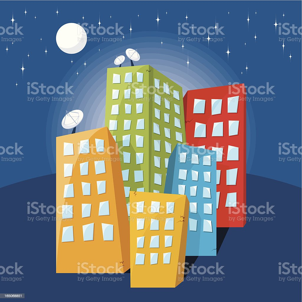 Fancy City at Night royalty-free stock vector art