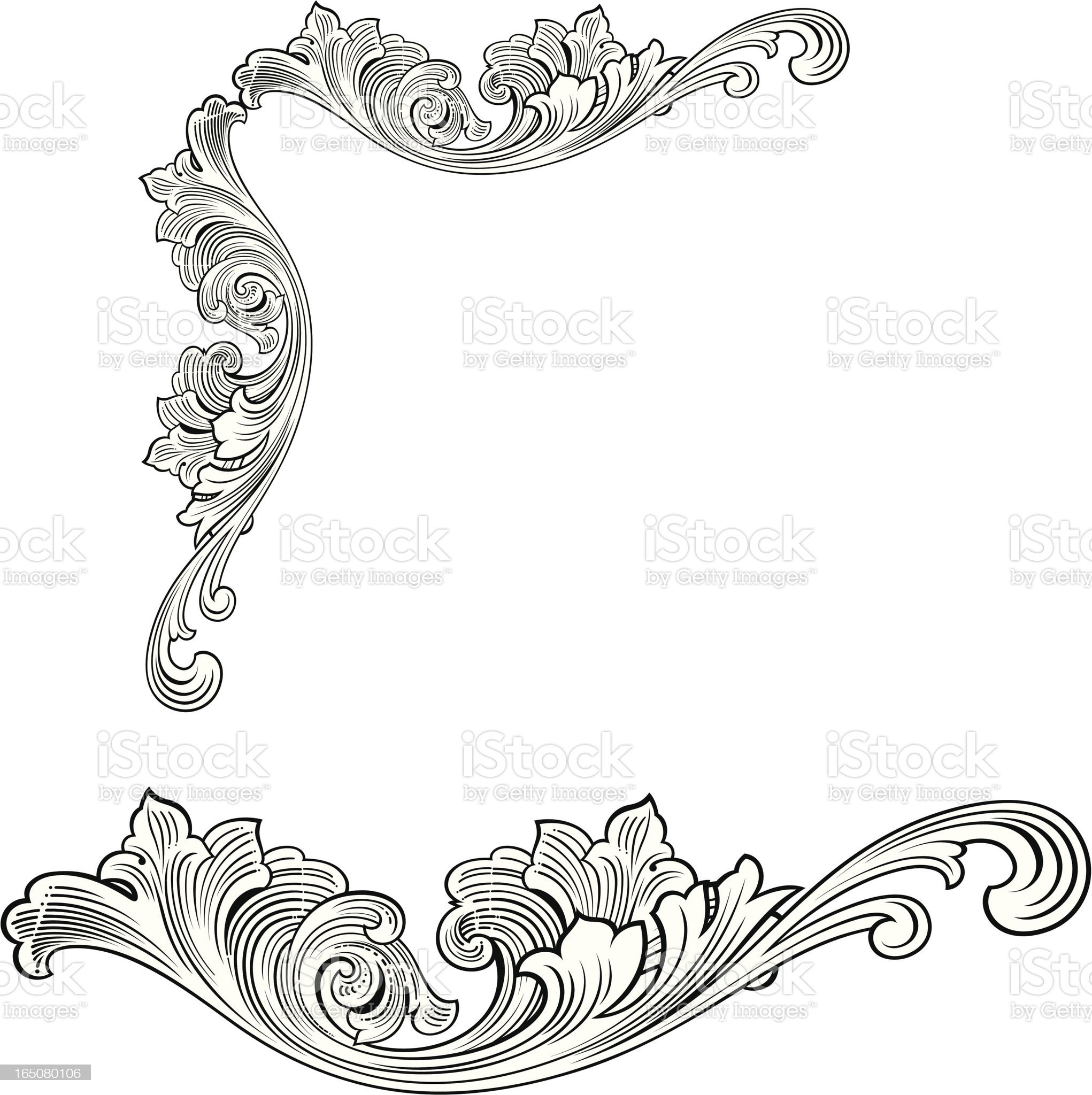 Fancy Corner and woodcut Scroll royalty-free stock vector art