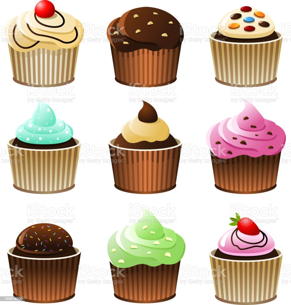 Fancy Cupcakes Collection royalty-free stock vector art