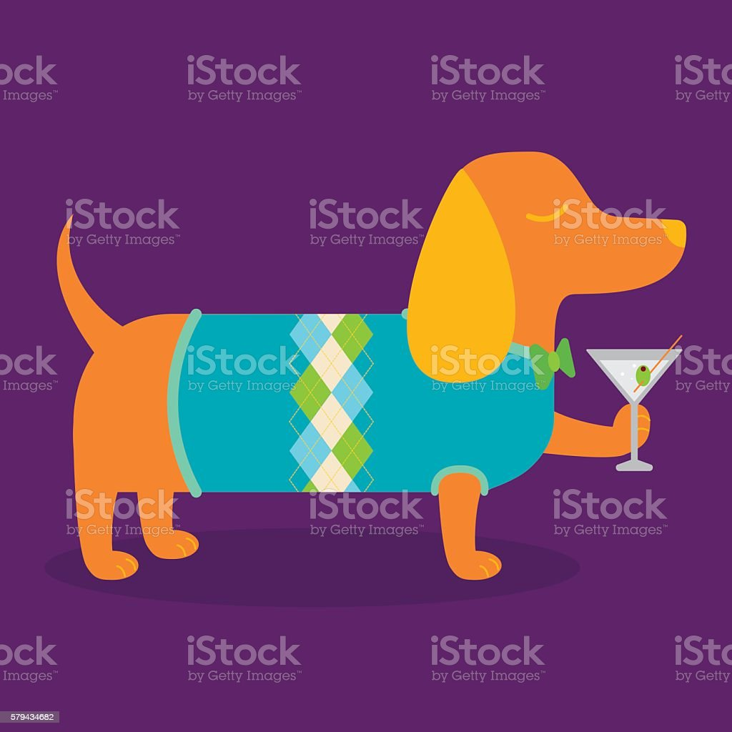Fancy Dachshund with a Martini vector art illustration