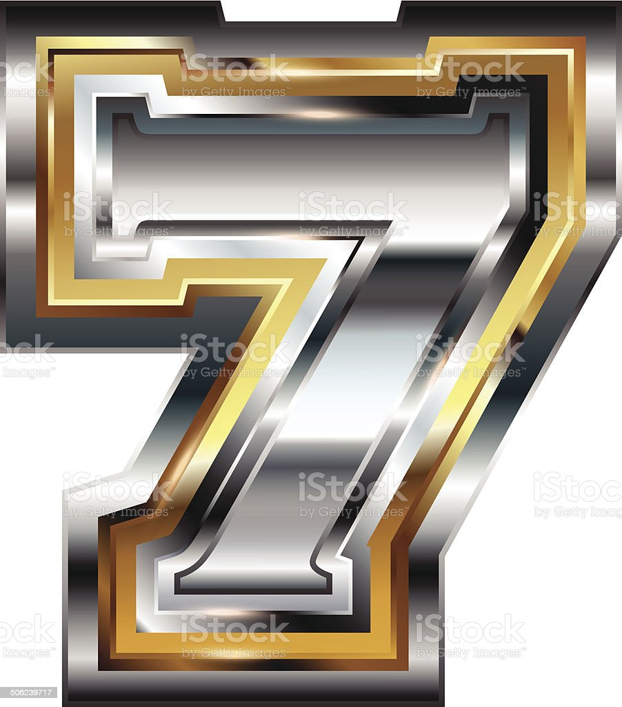 Fancy font Number 7 royalty-free stock vector art