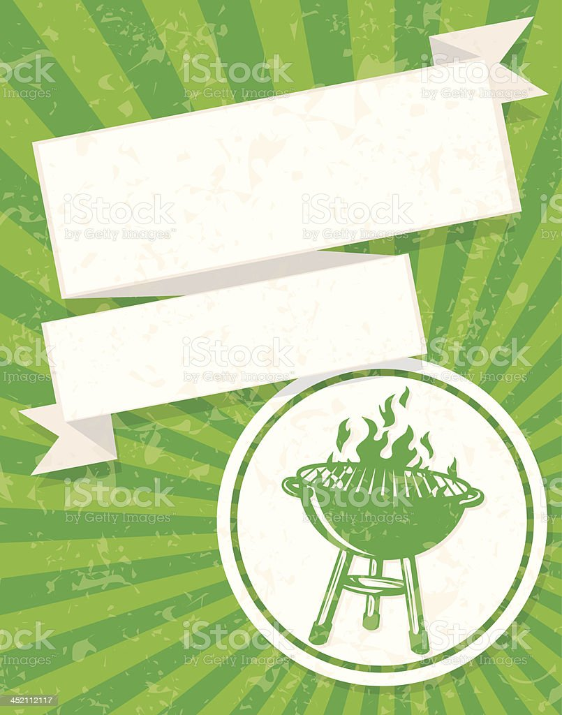 fancy green bbq flyer vector art illustration