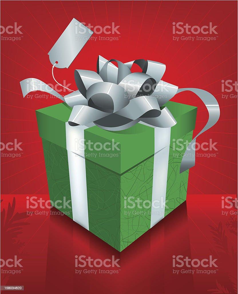 Fancy Green Christmas Gift Box vector art illustration