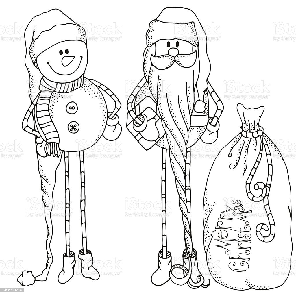 Fancy Santa  and snowman with Christmas gifts. vector art illustration