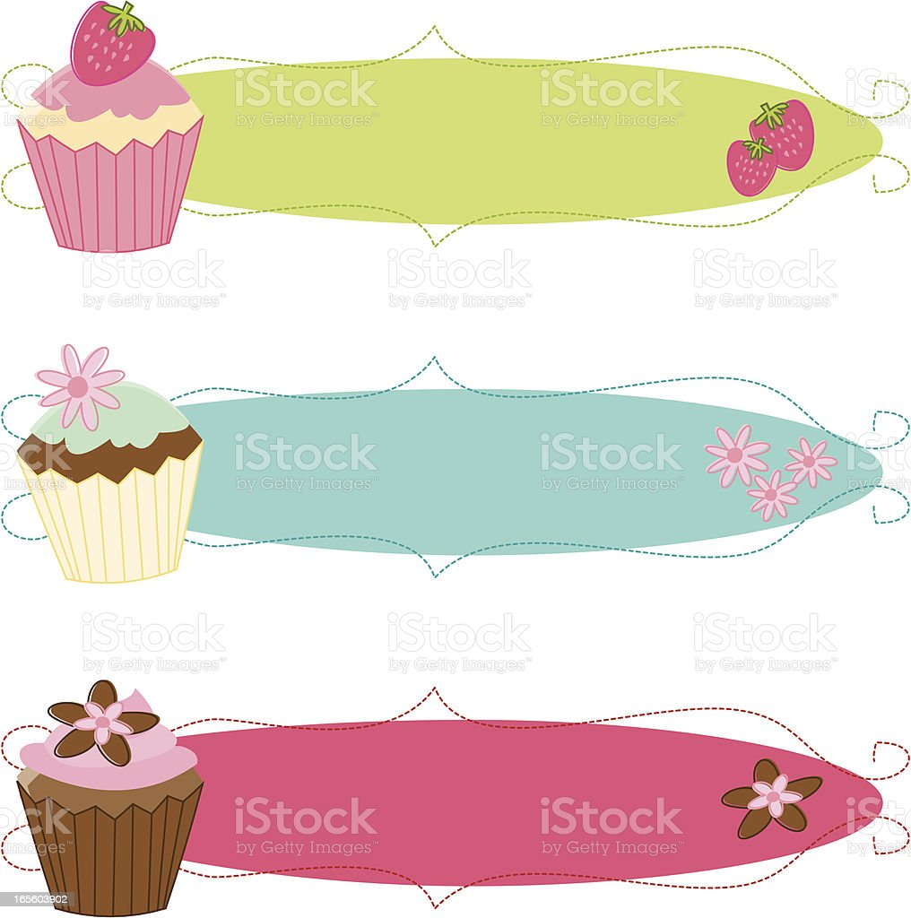 Fancy Sketchy Cupcake Banners vector art illustration