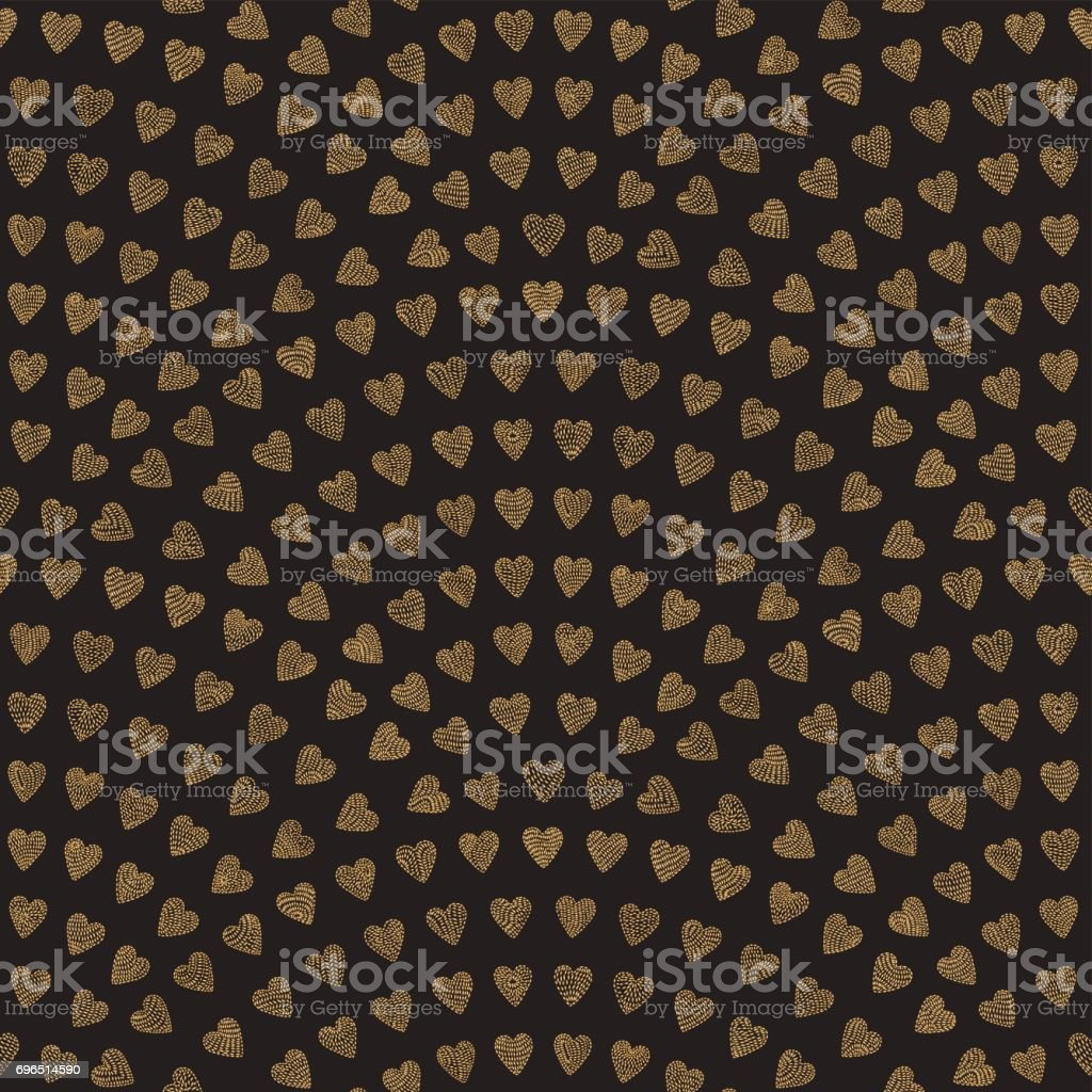 Fancy vector abstract seamless wavy pattern with geometrical fish scale layout. Gold stylized hearts on a dark black background. Fan shaped Valentine Day ornament. Embroidery stitches. Wrapping paper vector art illustration