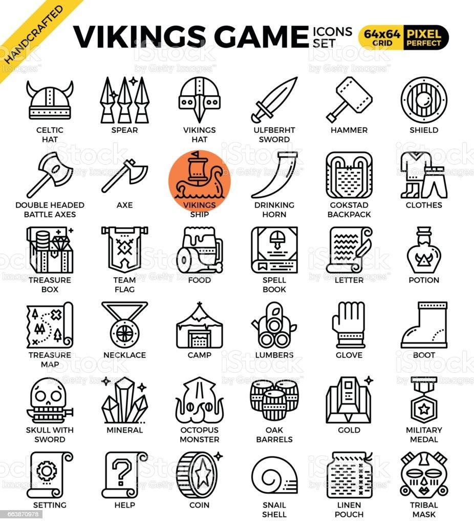 Fancy vikings game icons vector art illustration