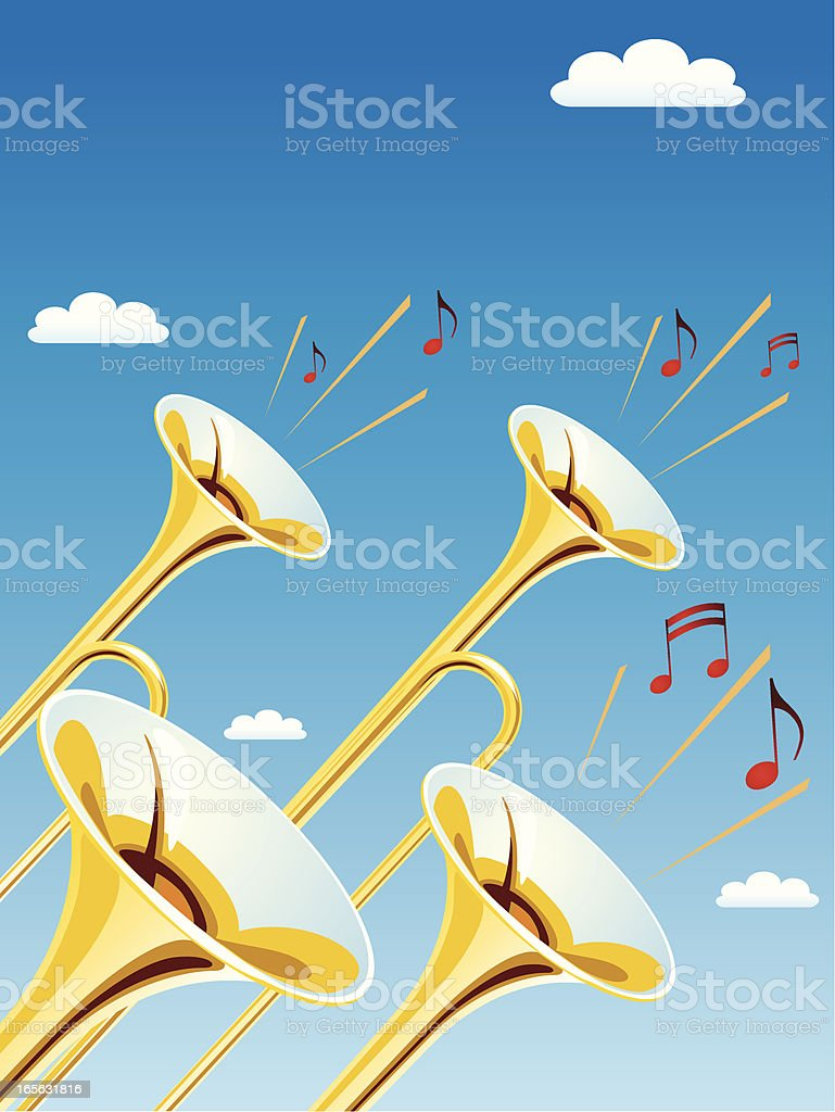 Fanfare Trumpets vector art illustration