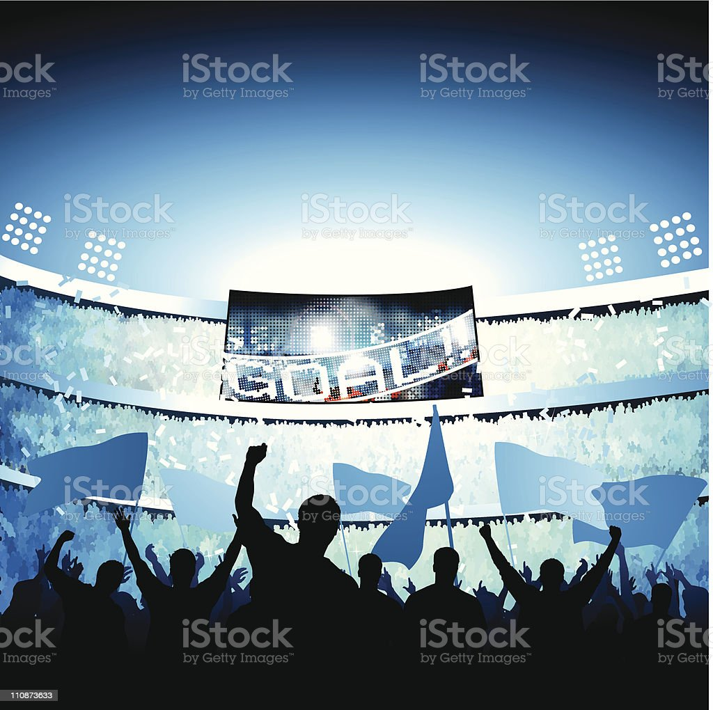 Fans celebrating goal vector art illustration