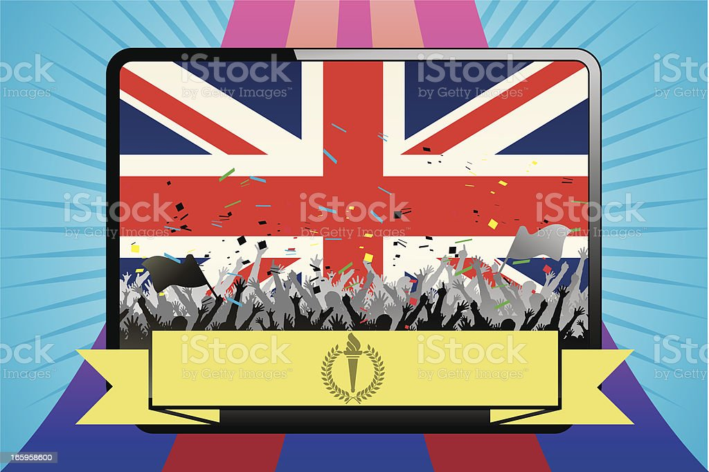 Fans celebration with England flag vector art illustration