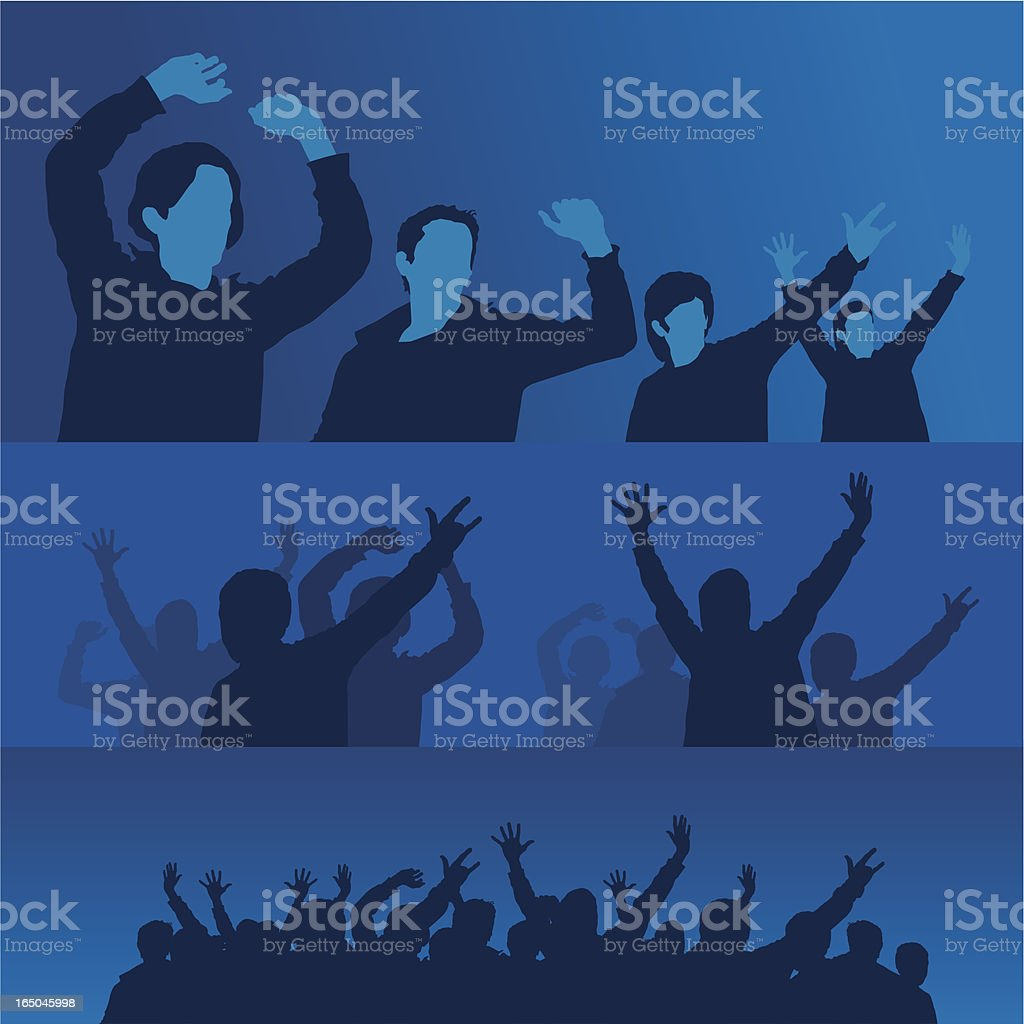 fans in a crowd BLUE royalty-free stock vector art