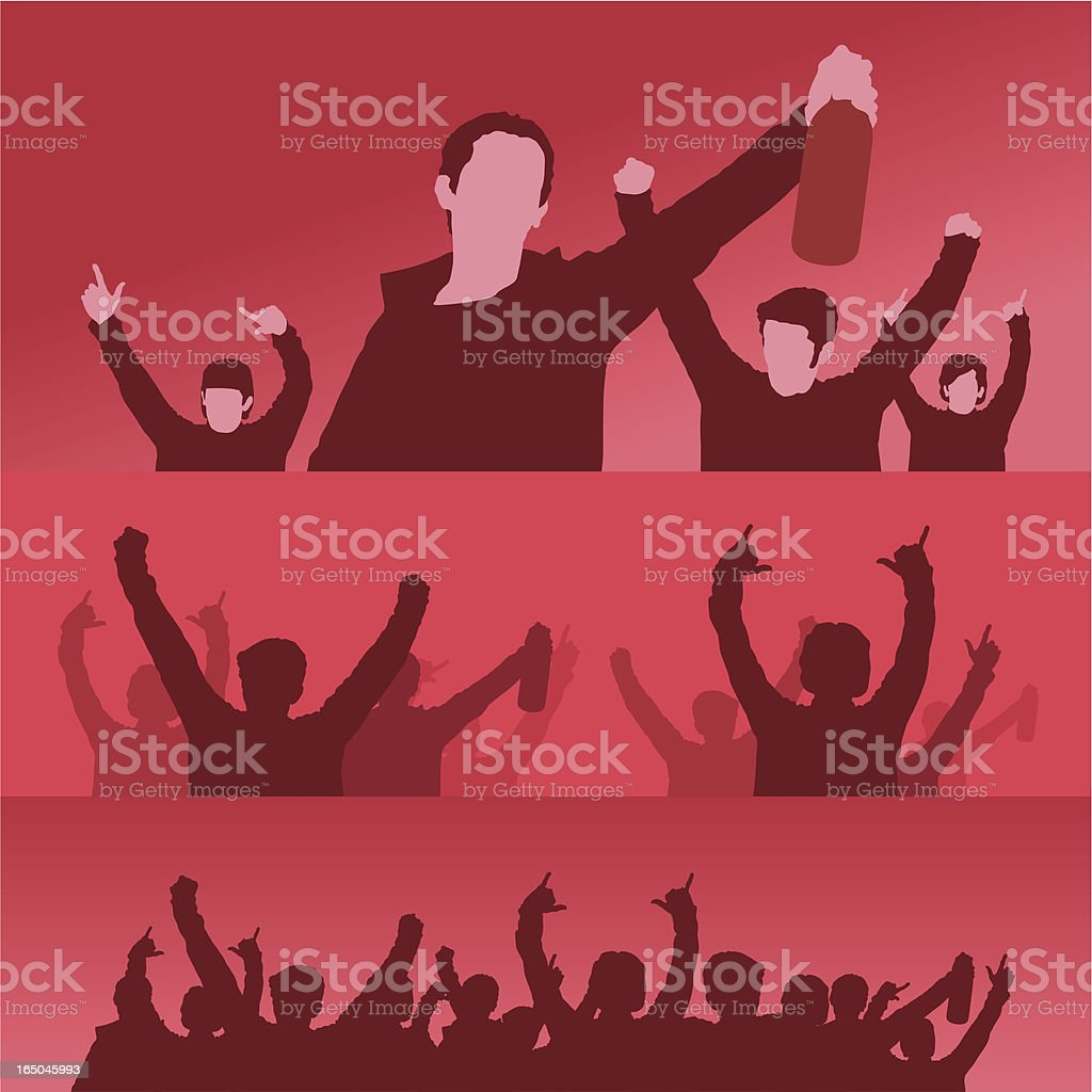 fans in a crowd RED royalty-free stock vector art